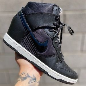 Nike Dunk Black Leather Womens Hi Wedge Shoes 8.5